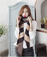 Жеский легкий шарф черный в бежевую полоску