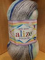 Детская акриловая пряжа (100%акрил,100г/320м) Alize Sekerim bebe batik 6548