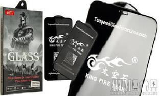 """5D Premium стекло """"King Fire Tech"""" для iPhone ХS (Черное)"""