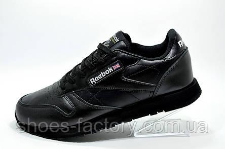Кроссовки мужские в стиле Reebok Classic Leather, Premium Black, фото 2