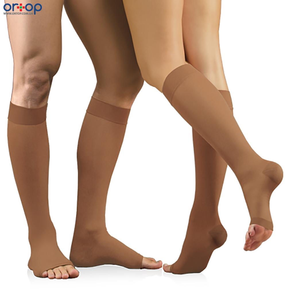Гольфы медицинские эластичные компрессионные, без мыска, универсальные, компрессия 23 – 32 мм рт.ст., 2, Открытый носок, Стандартный, 2 класс