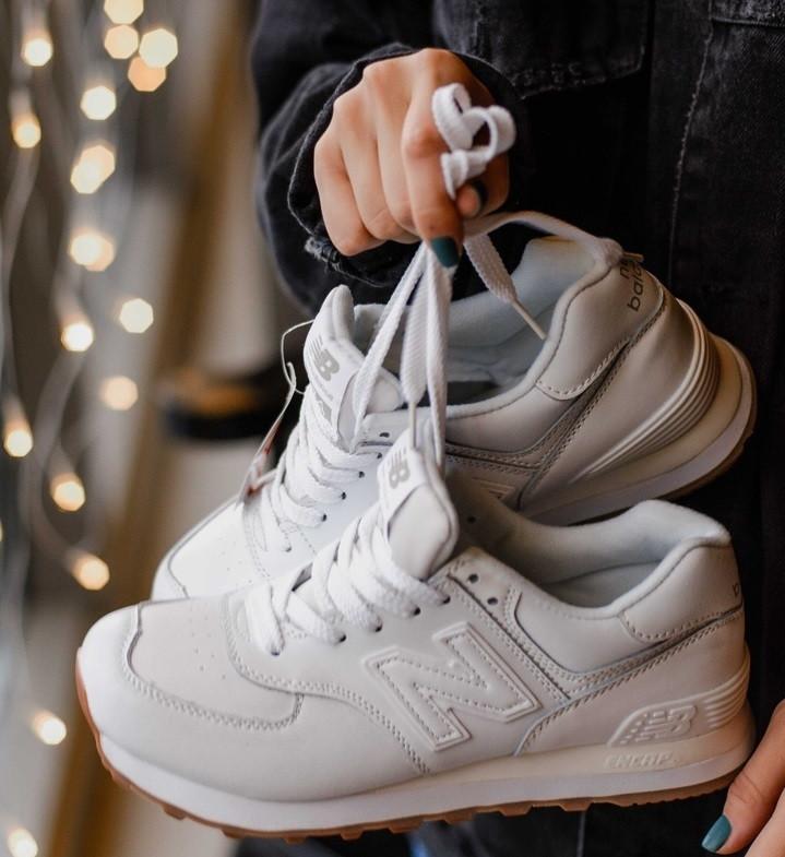 Жіночі кросівки New Balance 574 White Gum. Живе фото (Репліка ААА+)