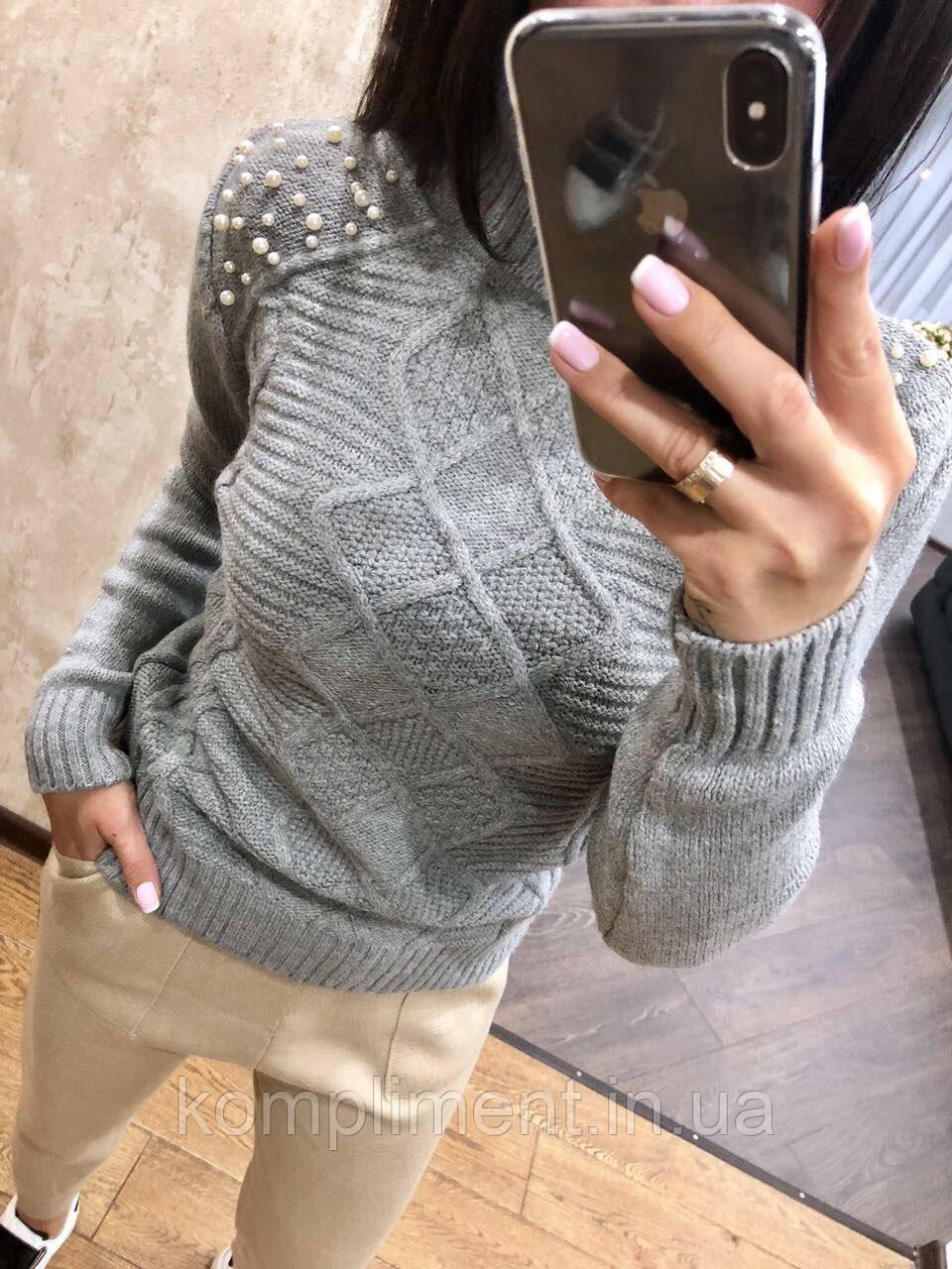 Теплый свитер женский шерстяной с горлом, серый.Производство Турция.NВ 2402/2