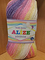 Детская акриловая пряжа (100%акрил,100г/320м) Alize Sekerim bebe batik 4006