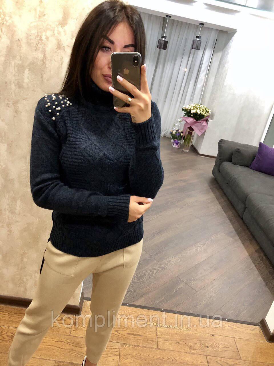 Теплый свитер женский шерстяной с горлом, синий.Производство Турция.NВ 2402/5