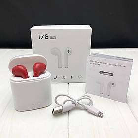 Беспроводные наушники I7s TWS Bluetooth c кейсом аналог, реплика Apple Airpods красные