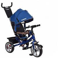 Велосипед трехколесный детский Turbo Trike M 3113-5 с ручкой, Турбо Трайк колеса пена синий