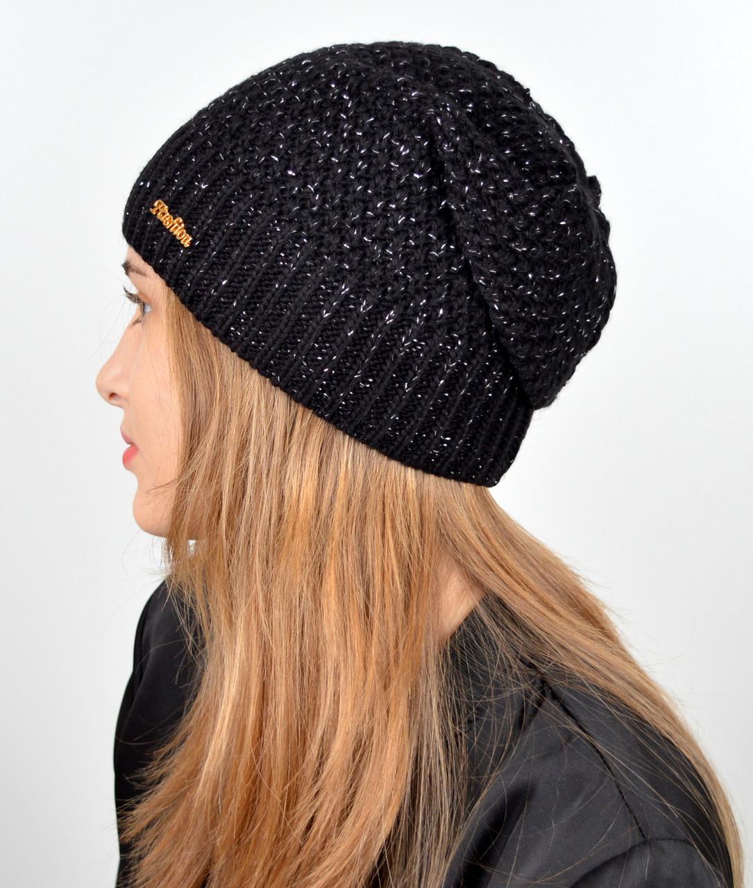 """Женская шапка """"Морошка"""" Черный"""