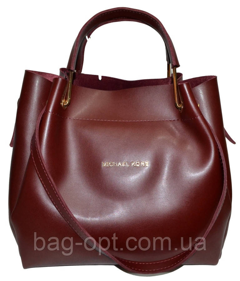 Женская бордовая сумка с клачем Michael Kors (28*32*14)