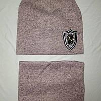 Комплект двойной ангоровый шапочка и снуд 6-10 лет