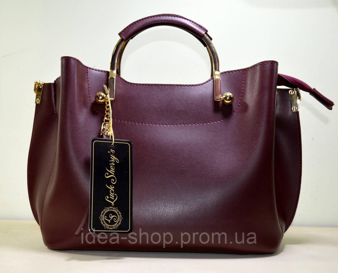 Модная сумка-шоппер из бордовой экокожи