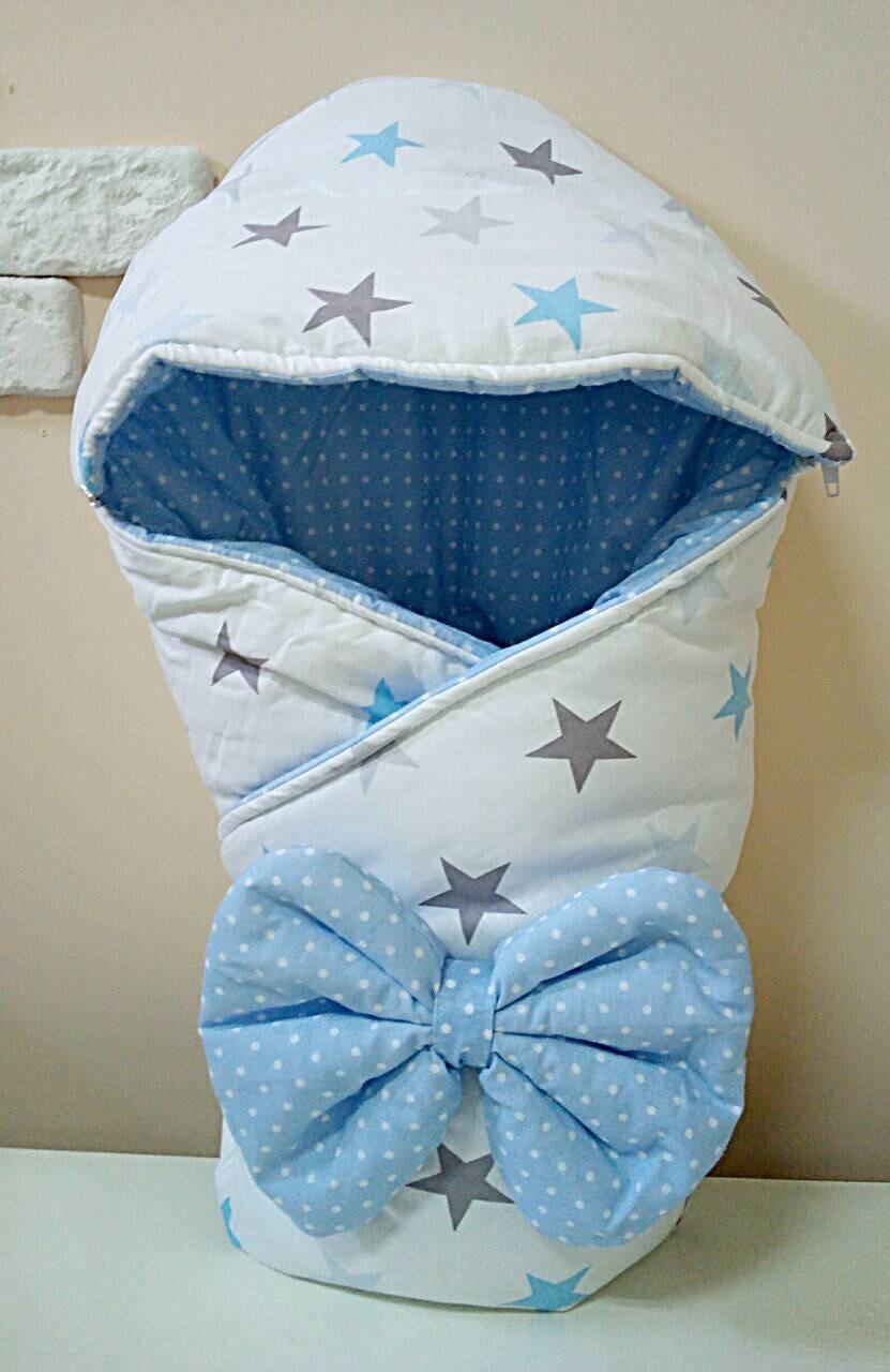 Теплый конверт-одеяло со съемным капюшоном на выписку зима 80х80см бело/голубой звезды
