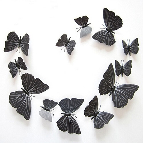 (12 шт) Набір метеликів 3D на магніті,ЧОРНІ кольорові