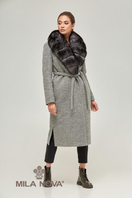 Удлиненное зимнее женское пальто с мехом песца (разные цвета)