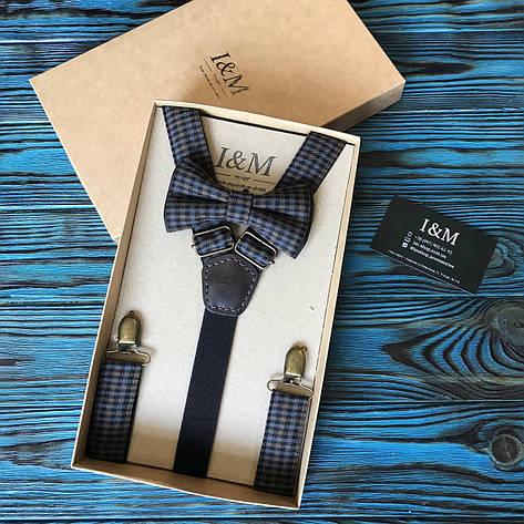 Набор I&M Craft галстук-бабочка + подтяжки для брюк в клеточку (030254), фото 2