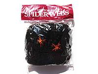 Паутина с пауками декоративная чёрная на Хэллоуин