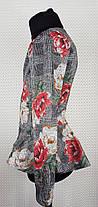 Костюм для девочки  с баской   р.122-140 серый  (основной) + красный, фото 2