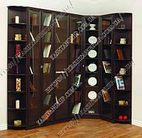 Угловой книжный шкаф для гостиной Ш: 2300-1300 мм, Г: 300 мм, В: 2200 мм