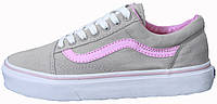 Женские кеды Vans Old Skool Suede Grey Pink Line