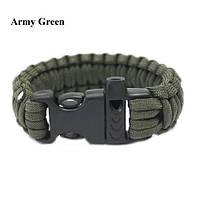 Браслет выживания Paracord army green