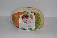 Детская пряжа меланж ализе беби вул батик шерсть с бамбуком для ручного вязания