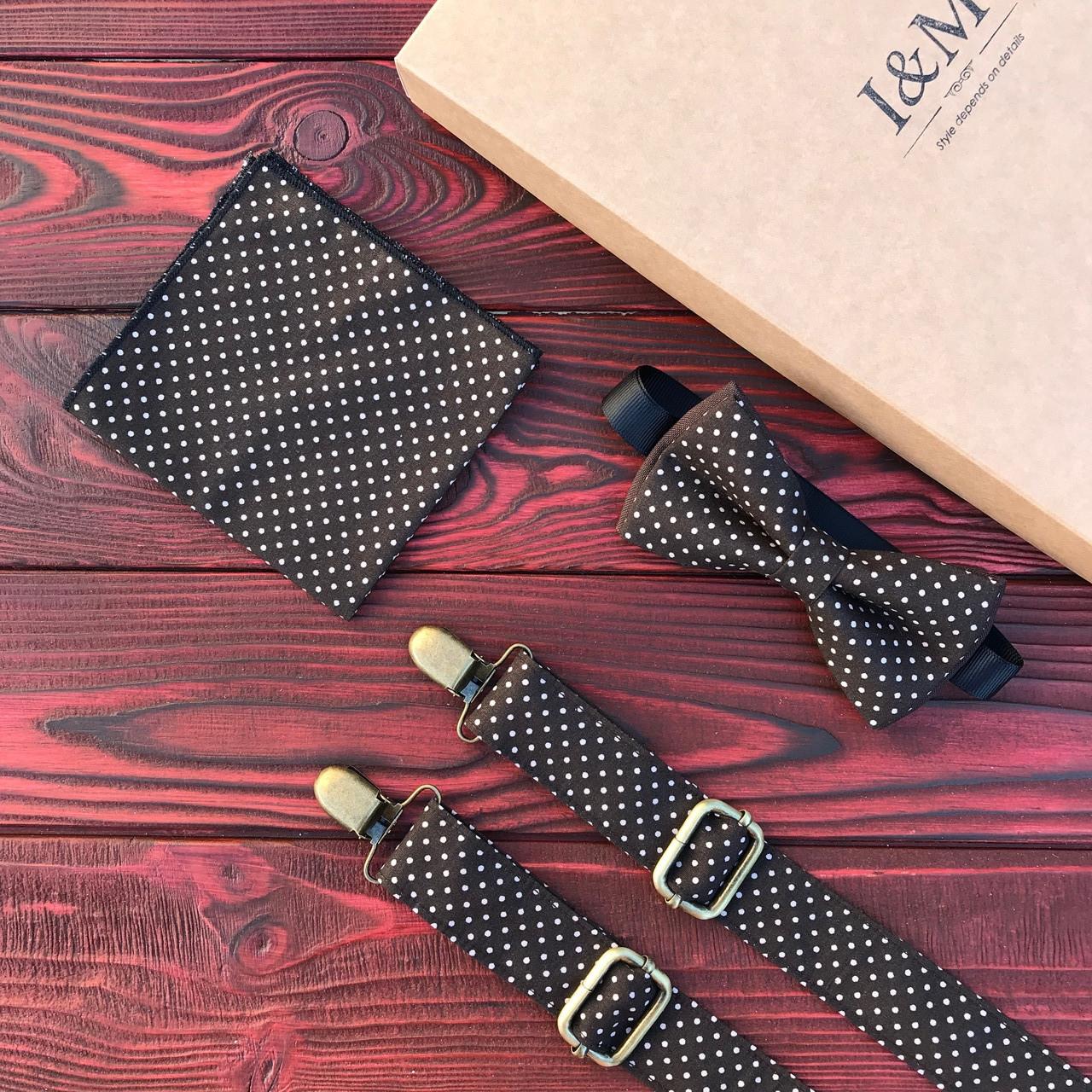 Набор I&M Craft галстук-бабочка, подтяжки для брюк и платок паше в горошек (030261)