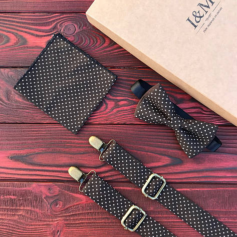 Набор I&M Craft галстук-бабочка, подтяжки для брюк и платок паше в горошек (030261), фото 2