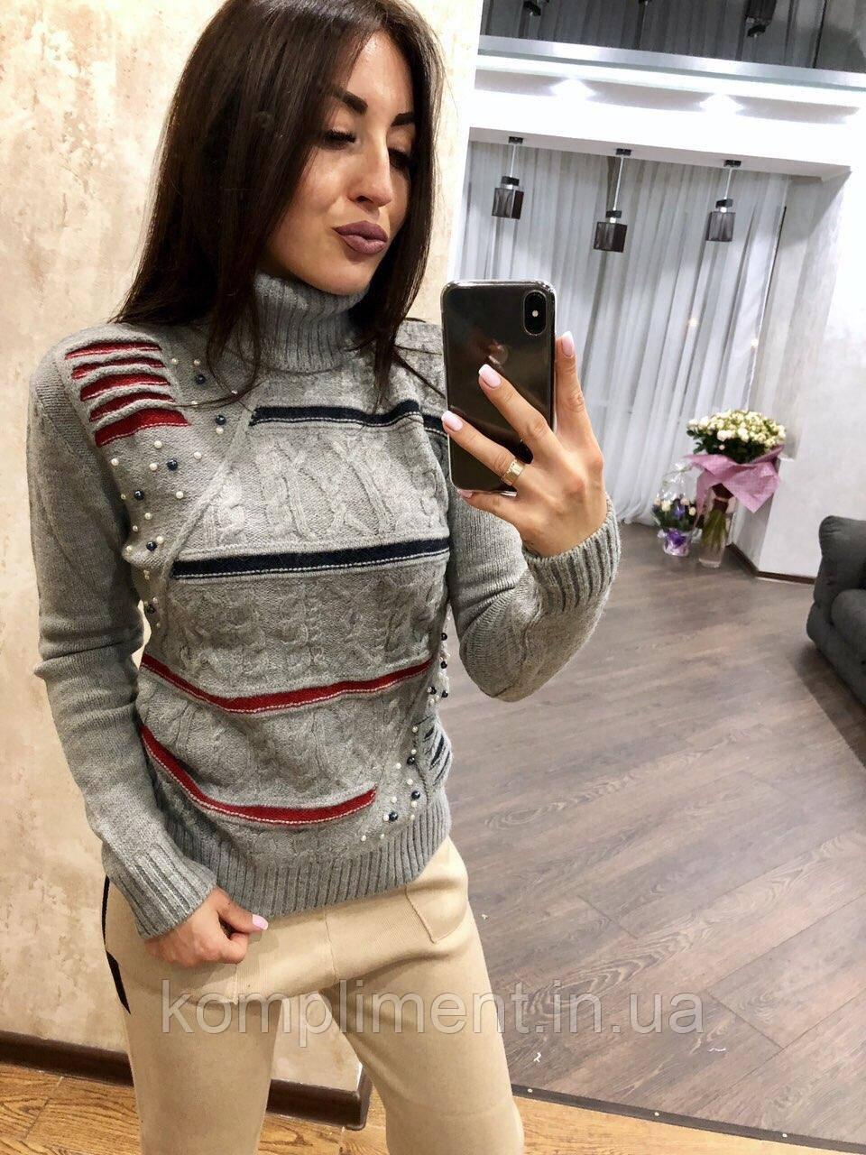 В'язаний светр жіночий вовняної з горлом,сірий.Виробництво Туреччина.NВ 2404