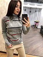 В'язаний светр жіночий вовняної з горлом,сірий.Виробництво Туреччина.NВ 2404, фото 1