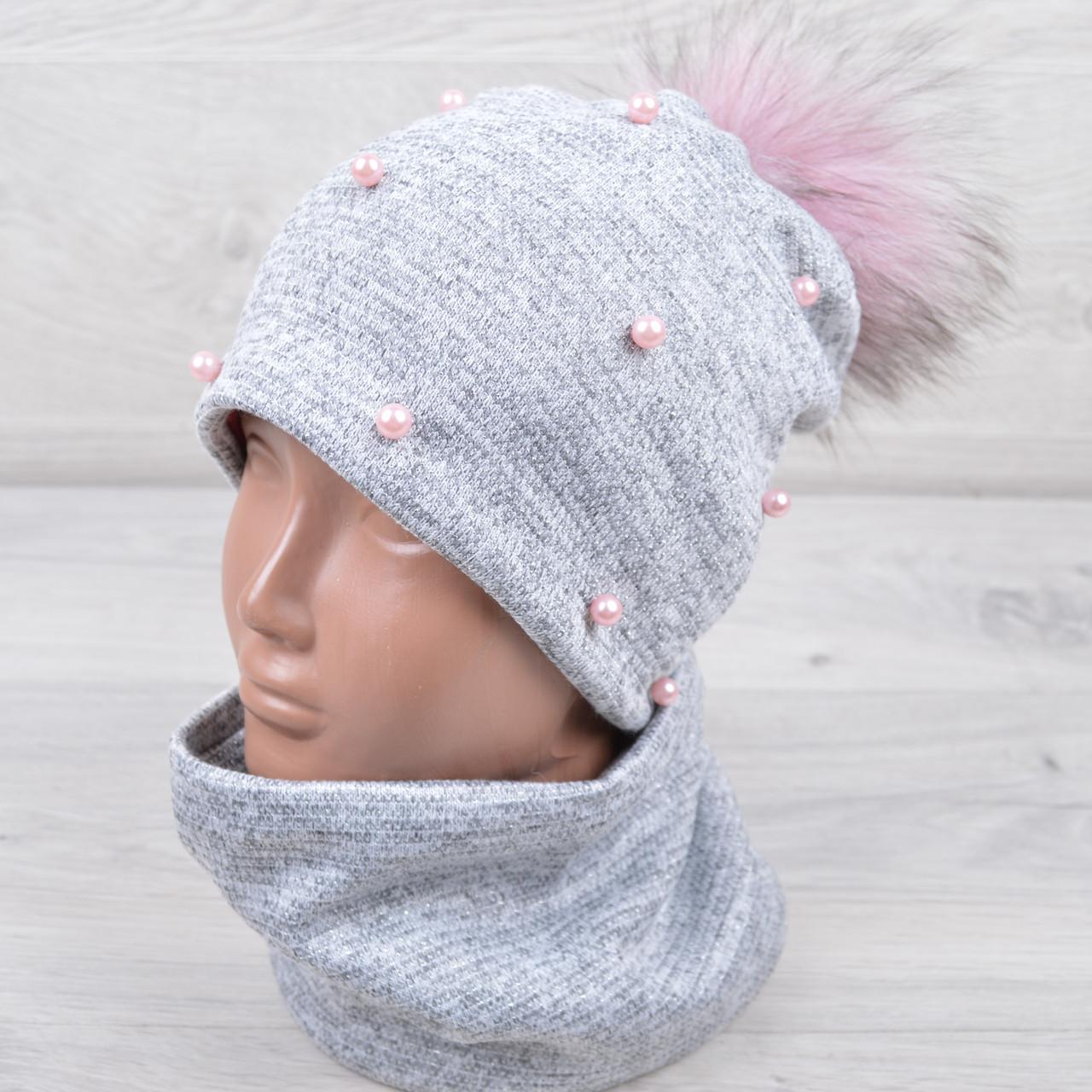 Комплект (шапка+хомут) подростковый зимний на флисе