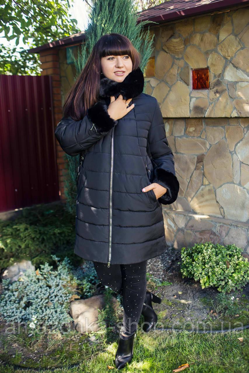 Женское зимнее пальто больших размеров с экомехом тренд 2019 - (модель кт-291)