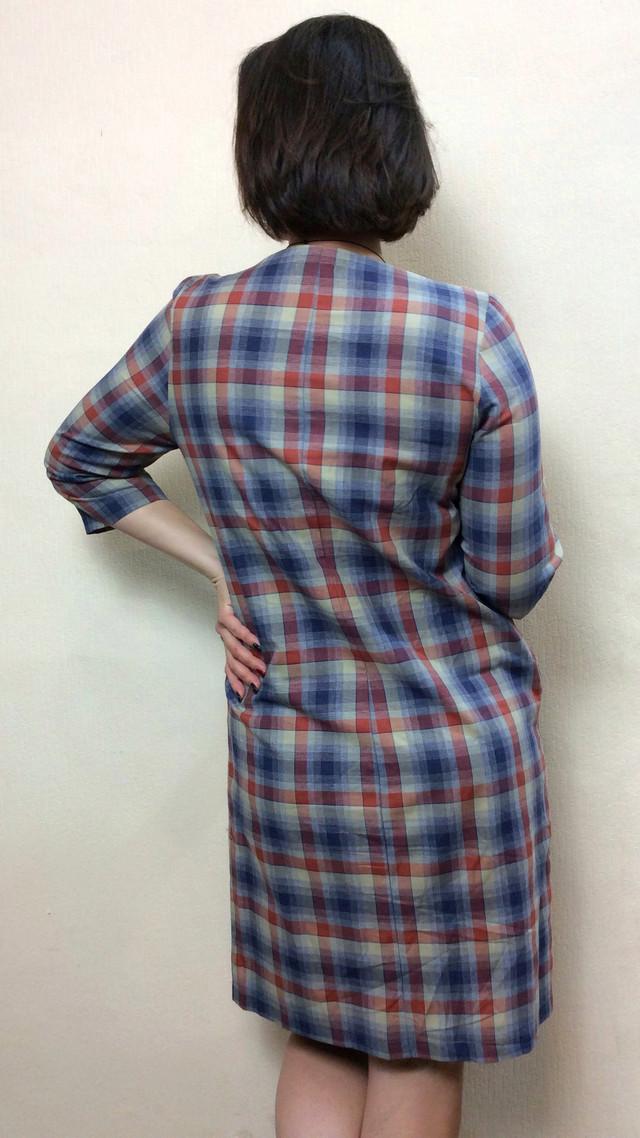 Платье в клетку с карманами П246