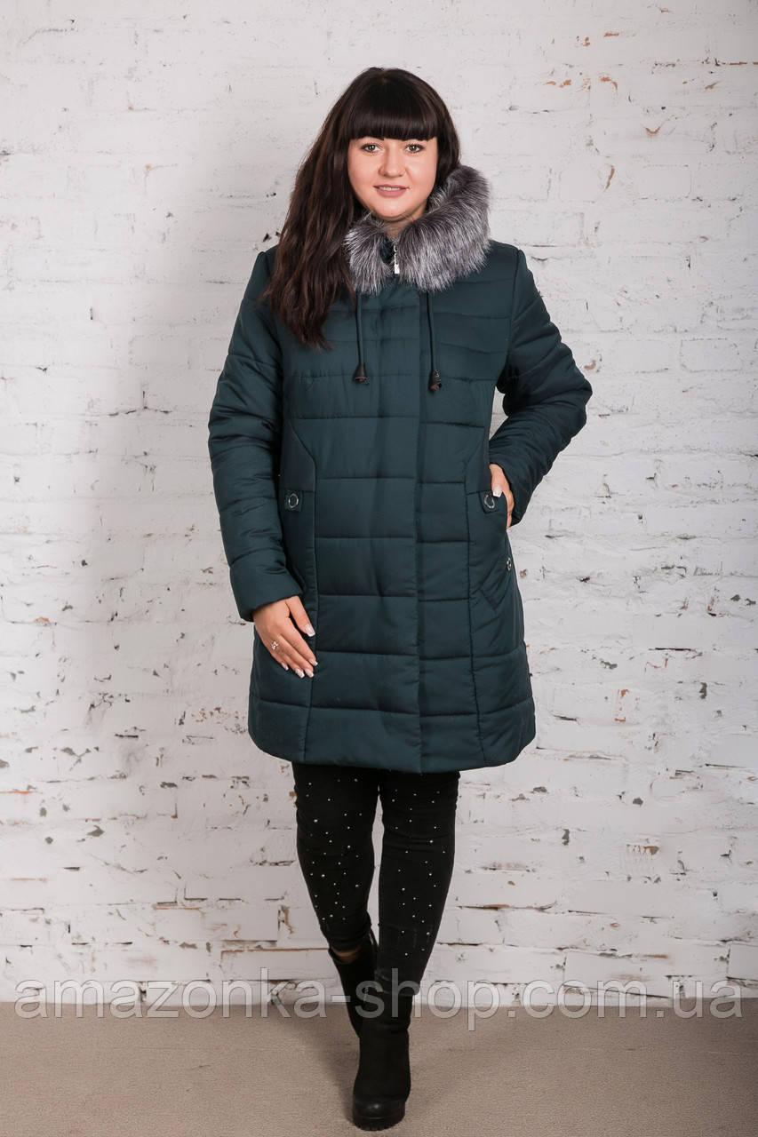 Женское теплое пальто с экомехом батал - (модель кт-320)