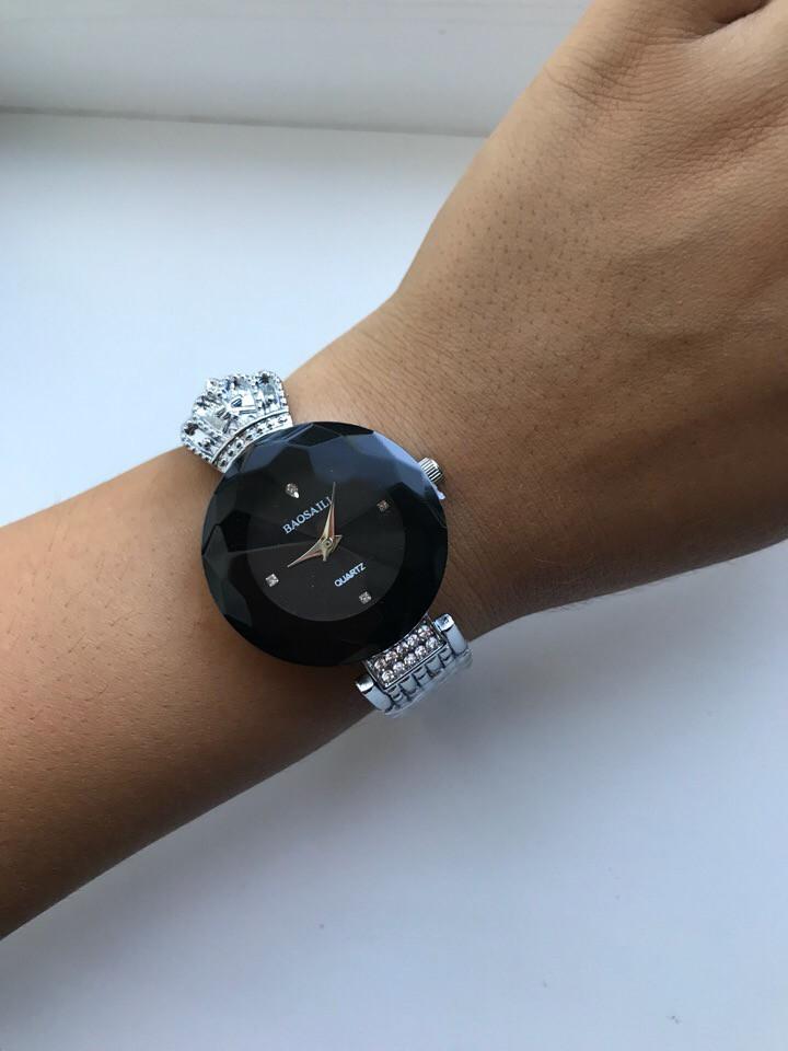 dbd3795edb7e Часы Baosaili 115697 с короной женские модные серебристые с черным  циферблатом круглые сталь диаметр 34 мм