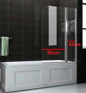 Стеклянная шторка для ванны 100х140 см А45, фото 2