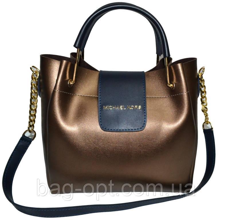 Женская бронзовая сумка Michael Kors (26*27*13)