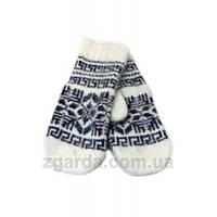 Ангоровые серые женские рукавицы