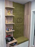 Мягкая стеновая панель и сидение в прихожую кожзам, ткань