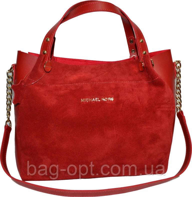 Женская красная сумка из натуральной замши Michael Kors (27*32*14)