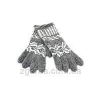 Ангоровые серые женские перчатки