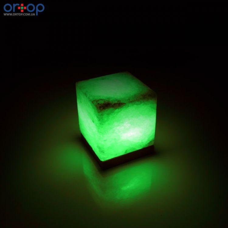 Соляная лампа SALTKEY CUBE (Куб) green 3,5-4 кг