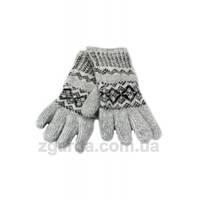 Ангоровые серые женские перчатки с гуцульским узором