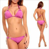 Розовый раздельный купальник на завязках