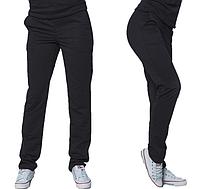 Демисезонные брюки черные спортивные штаны женские трикотажные прямые