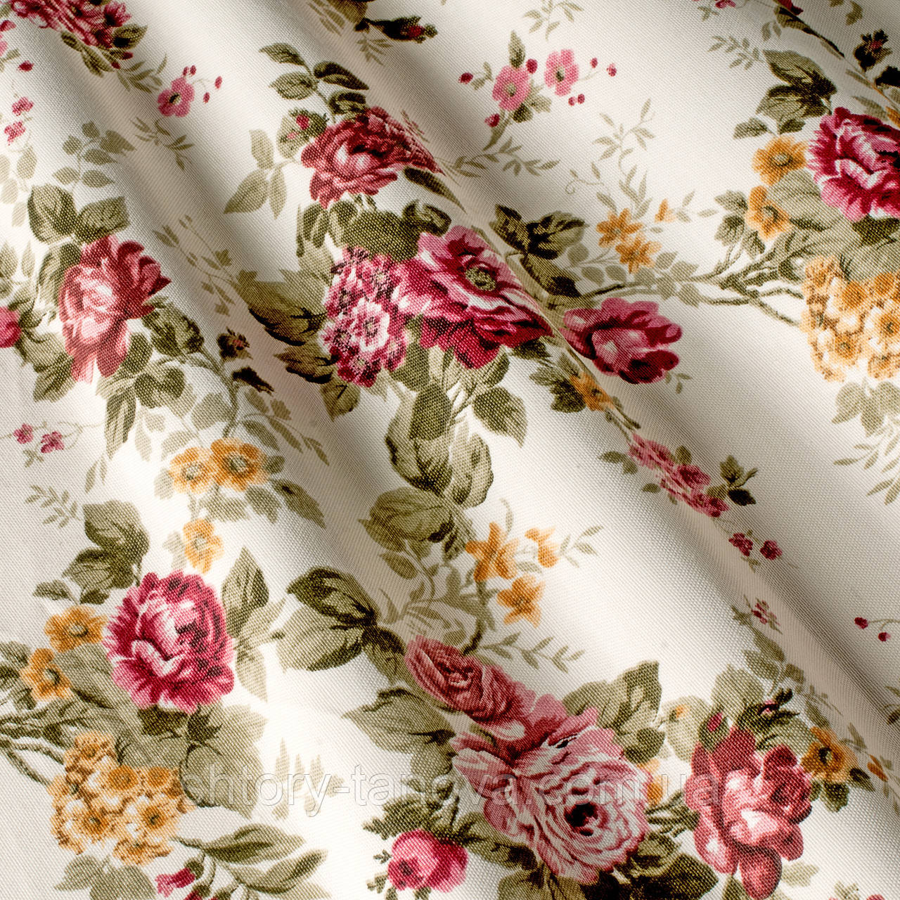 Стильні штори в стилі прованс троянди малиновий