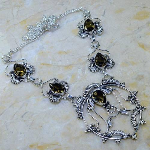 Колье ожерелье с раух-топазом в серебре. Ожерелье с камнем раух-топаз. Индия!