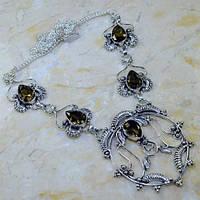 Колье ожерелье с раух-топазом в серебре. Ожерелье с камнем раух-топаз. Индия!, фото 1