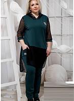Модный батальный спортивный костюм штаны с туникой 820873