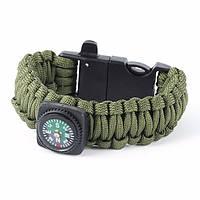 Браслет Paracord Flint-Fire + separate compass green