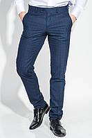 Мужская брюки на каждый день, стильная клетка 497F001-2 (Синий)